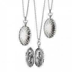 Sterling Silver Sunburst Locket with Sapphires - Lockets by Monica Rich Kosann