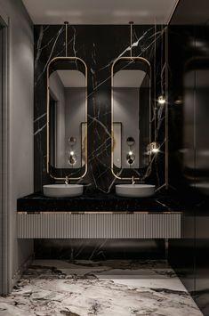 Minimalist Bathroom Design, Bathroom Design Luxury, Cascade Lights, Powder Room Design, Circular Mirror, Bathroom Design Inspiration, Vanity Design, Cool Lighting, Net Architecture