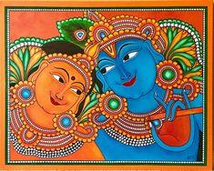Rupa's art gallery, how-to videos Kerala Mural Painting, Krishna Painting, Madhubani Painting, Indian Art Paintings, Kalamkari Painting, Canvas Painting Designs, Acrylic Painting Canvas, Fabric Painting, Canvas Paintings