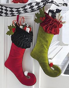 harlequin ribbon swag Merry and Bright Stockings Sewn Christmas Ornaments, Christmas Stocking Decorations, Unique Christmas Stockings, Cross Stitch Christmas Stockings, Xmas Stockings, Christmas Sewing, Christmas Home, Christmas Holidays, Christmas Crafts