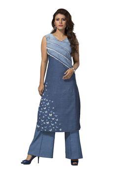 bb0aa18fb965 Shop readymade blue denim ladies top kurti