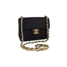 Chanel Chanel Classic Black Quilted Fabric Mini Flap Bag Purse