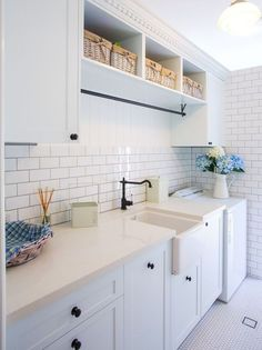 Laundry Room Cabinets With Hanging Basement Laundry Room Ideas To Try In Your House . Retracting Drop Down Clothing Rack Pull Out Ironing . Home and Family Laundry Nook, Farmhouse Laundry Room, Small Laundry Rooms, Laundry Room Organization, Laundry In Bathroom, Basement Laundry, Laundry Sorting, Laundry Closet, Laundry Storage