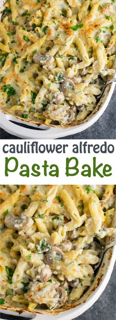 Indulgent baked penne with parmesan and mozzarella and mixed with a super creamy cauliflower alfredo sauce. A great way to hide veggies! You won't believe how good this is! #caulifloweralfredo #vegetarian #pasta #dinner #recipes #cauliflowersauce #meatless #vegetarianrecipes