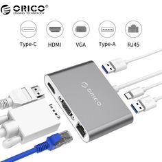 VGA/HDMI/RJ45/Type-C-A Converter USB3.1 Gen1 with 2 USB3.0 Ports for Mac(RCNB)