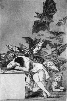 The Sleep of Reason Produces Monsters (Spanish: El sueño de la razón produce monstruos) is an etching by the Spanish painter and printmaker Francisco Goya. Created between 1797 and it is the of 80 etchings making up the suite of satires Los Caprichos. Arte Obscura, Art Et Illustration, Spanish Artists, Gustav Klimt, Gravure, Oeuvre D'art, Dark Art, Art Museum, Art History