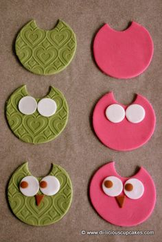 owl cupcake toppers - I think this is a cute cookie idea.