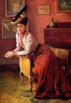 FRENCH PAINTERS: Julius LEBLANC STEWART Élégante Au Sofa 1895