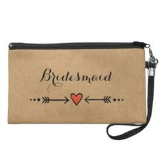 Pink Sweethearts & Arrows Rustic Bridesmaid's Gift Wristlet Purse