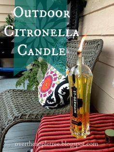 DIY Outdoor Citronella Candle - Empty bottle, tiki torch wick, tiki torch citronella oil