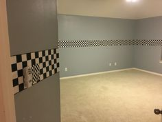 Duct tape as a border. Race car room a little change