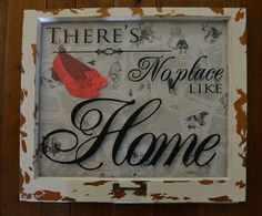 """""""There's no place like home"""" shadowbox from vintage window. The background is pages from The Wizard of Oz, and of course, Dorothy's shoes are red glitter. Had a lot of fun with this one!  Follow me for great DIY home decor projects!"""