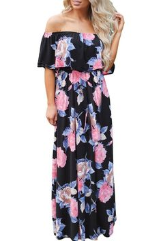 Flower Print Black Grounding Flounce Off Shoulder Long Boho Dress MB61585-2 ModeShe.com