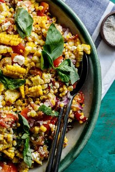This smoky grilled summer corn salad is the perfect easy side dish to bring to a barbecue and will be perfect for 4th of July. #easyrecipe #glutenfree #vegetarian #salad #summerrecipe