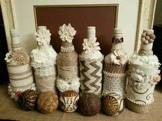 Bottles with twine, lace, burlap, etc