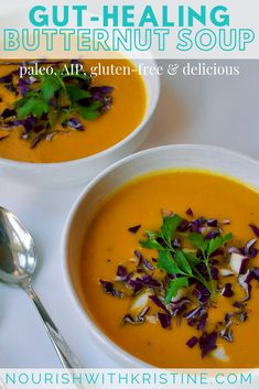 This gut-healing butternut squash soup is the perfect winter meal to warm you up and heal your gut. It is paleo, gluten-free, and ready in just 35 minutes. Butter Squash Soup, Butternut Squash Soup Healthy, Paleo Recipes, Soup Recipes, Lunch Recipes, Recipies, Clean Eating Snacks, Healthy Eating, Healthy Soups