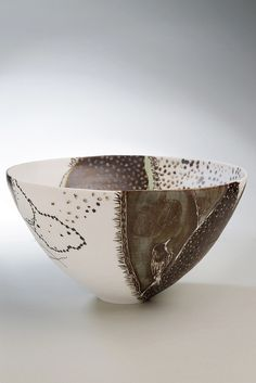 Shannon Garson, Honeyeater Bowl,2012     - Porcelain, terra sigilata , glaze, underglaze,oxide - 10cm high, 17cm wide, 17 cm deep