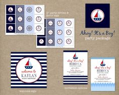 AHOY IT'S A BOY Custom Printable Nautical Baby Shower Party Package