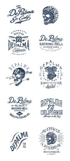 Depalma on Behance Lettering Design, Branding Design, Logo Design, Vintage Typography, Vintage Branding, Motor Logo, Clothing Brand Logos, Bike Logo, Illustration Sketches
