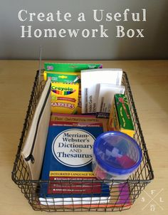 Simply Fabulous Living | creating a useful homework box | http://simplyfabulousliving.com