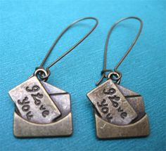LOVE LETTERS earrings on French wires.   Still time!  $7.00.  http://www.etsy.com/listing/120724241/love-letters?#