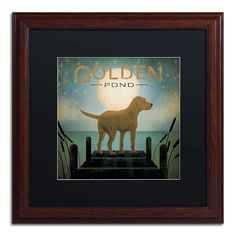 Trademark Fine Art Moonrise Yellow Dog Golden Pond Artwork by Ryan Fowler, 16 by 16-Inch, Matte Black/Wood Frame >>> To view further, visit now (This is an amazon affiliate link. I may earn commission from it)