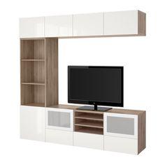 BESTÅ Alm TV - efecto nogal tinte gris/Selsviken alto brillo/vidrioesmerilbl, riel p/cajón+apetura presión - IKEA