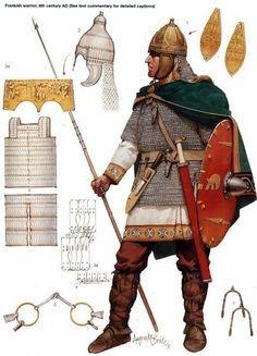 Frankish Warrior - 500s AD.- ANNEE 56 av JC, ARMORICAINS et AQUITAINS, 2) Campagne contre les UNELLES, 2: Le lieutenant a surtout recours à une subterfuge, faisant croire à ses ennemis qu'il qu'il est terré par la peur et que César est battu par les Vénètes. VIRIDORIX mène alors précipitamment l'armée gauloise contre les murs du camp romain, et la bataille s'engage entre les troupes romaines fraiches, et les Gaulois à bout de souffle.
