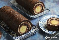 Csokoládés-banános tekercs | NOSALTY Banana Roll, Sweets Recipes, Cakes And More, Cake Cookies, Cupcakes, Food And Drink, Chocolate, Cooking, Ethnic Recipes