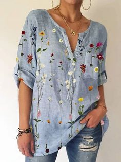 Long Sleeve V Neck Pockets Shirts & Tops Floral Tops, V Neck, Long Sleeve, Sleeves, Shirts, Clothes, Collection, Pockets, Women