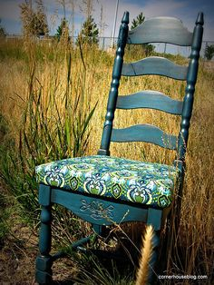 Refinished chair tutorial.  CornerHouseBlog.com