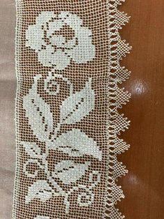 Crochet Diagram, Filet Crochet, Knit Crochet, Thread Crochet, Crochet Stitches, Cotton Curtains, Rose Lace, Needle Lace, Bargello