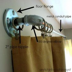 curtain rods from plumbing parts: May work for front window because it's so wide.