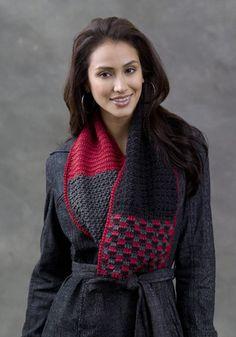 Crochet Infinity Scarf in school colors or favorite colors via Caron Yarns
