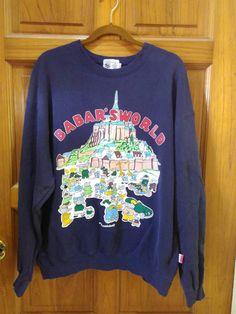 30% OFF - Babar Elephant 1995 Babar's World sweater sweatshirt Laurent de Brunhoff Flying French cartoon Navy cotton shirt Hip hop Ja...
