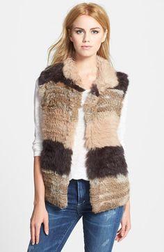 Women's La Fiorentina Genuine Rabbit Fur Vest - Beige