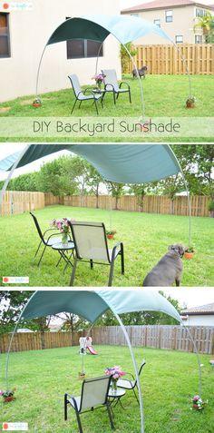 DIY Backyard Sunshade - rebar, pvc pipe, and a roll of sunshade fabric... what a great idea.