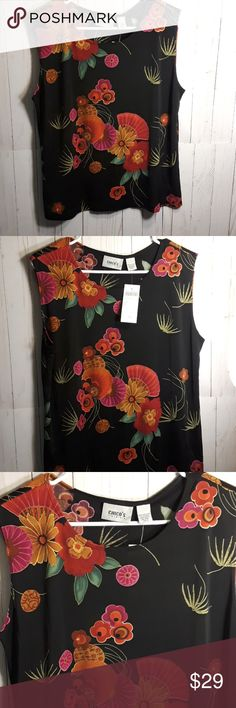 CHICOs NWT Tea Rose Tank Chico's Tea Rose City tank. Beautiful multicolor Floral sleeveless blouse. Poly spandex combo made in the USA. Machine wash cold. Size 3 Chico's which = size 16. Chico's Tops Blouses