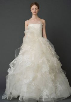 Take off the one giant poof on the front and this would be perfect!!!!! - Wedding Dresses, Bridal Gowns by Vera Wang | Classics