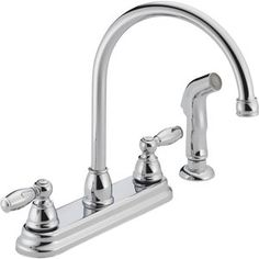 This Peerless Apex Two-Handle Standard Kitchen Faucet with Side Sprayer in Chrome creates fabulous look to your kitchen decor. Faucet Handles, Kitchen Handles, Kitchen Faucets Lowes, Bathroom Faucets, Ceramic Sink, Delta Faucets, Side, Plumbing Fixtures, Kitchen And Bath