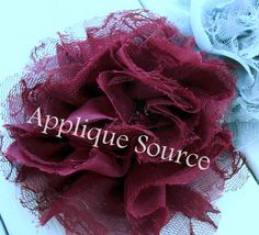 Shabby Chic Distressed Big Chiffon and Lacy Tulle Flowers