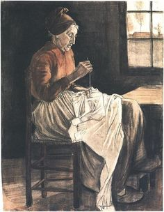 Vincent van Gogh -  Woman Sewing Watercolor, 1881