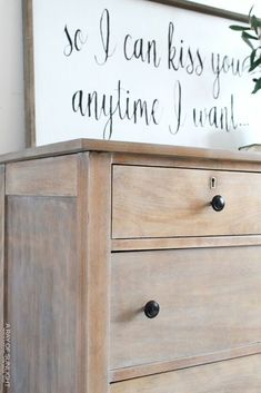 DIY Weathered Wood Dresser Decorating on a budget? Check out this weathered wood dresser makeover DIY project. This before and after transformation is inspiring and easy to do. A perfect project if you love vintage, farmhouse or country decor . Antique Bedroom Furniture, Bedroom Furniture Makeover, Kitchen Furniture, Painted Furniture, Furniture Redo, Cheap Furniture, Industrial Furniture, Wooden Bedroom, Furniture Buyers