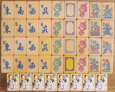 Vtg Coronet (Smoking Dragon) Mah Jong Set 152 Catalin Tiles: Winds, Smoking Dragons, Flowers, Stickered Jokers.