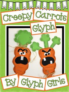 The+Glyph+Girls+have+created+this+Creepy+Carrots+Glyph+as+a+book+companion+for+the+popular+book+by+Aaron+Reynolds.+Students+complete+a+glyph+survey+that+determines+elements+of+the+art+project.+Graphing+and+writing+options+help+meet+math+and+writing+standards.