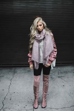 jessakae, fall fashion, fashion, style, blush, knee high boots, street style, blonde hair, ootd, womens fashion