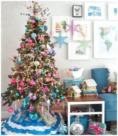 Árvores de Natal -arvore-de-natal-rosa-com-azul claro
