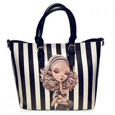 Fashion Character Print and Stripe Design Tote Bag For Women