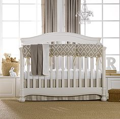 """New for Spring 2015 is our Taupe Toscana Linens Crib Bedding. The crib rail cover features a diamond pattern, while the crib sheet is a white egyptian cotton. The faux fur blanket is the color """"latte"""" and is backed in ivory faux fur (minky), which is oh, so soft and luxurious! The crib skirt is a taupe and natural stripe. This fabric is a soft, supple linen blend."""