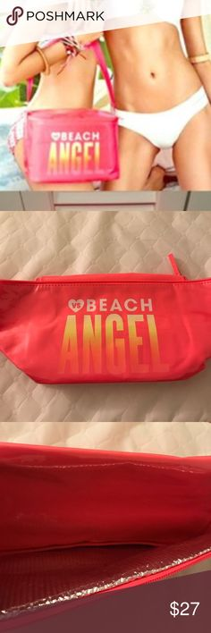 Vs Beach angel cooler bag with strap Sturdy with foil inside to keep drinks cooler longer. Approx  10x6x7 Victoria's Secret Bags Mini Bags